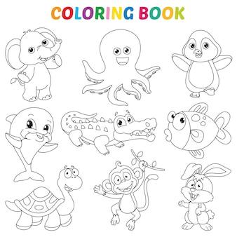 Векторная иллюстрация страницы книжка-раскраска