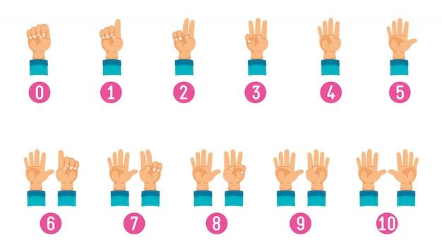 Векторная иллюстрация подсчета руки