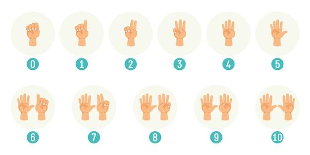 手を数えるのベクトルイラスト