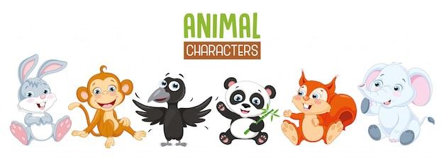 漫画の動物コレクションのベクトルイラスト