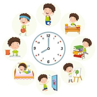 子供の日常の活動のベクトルイラスト
