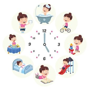 Векторная иллюстрация детей повседневной рутинной деятельности