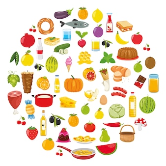 食品のコンセプトデザインのベクトルイラスト