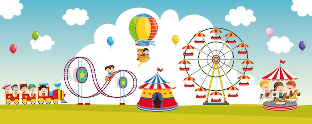 Векторная иллюстрация парк развлечений