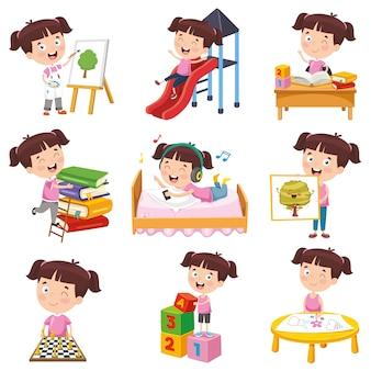 様々な活動をしている漫画の女の子のベクトルイラスト