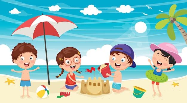 夏の子供のイラスト