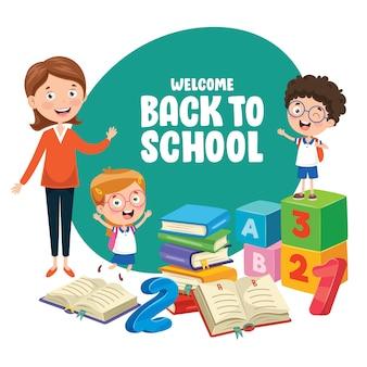 学校に戻る子供たちのベクトルイラスト