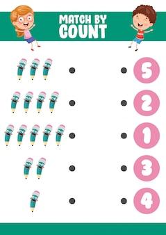 Векторная иллюстрация матча по количеству упражнений