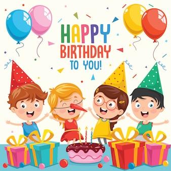 Векторная иллюстрация детей дизайн вечеринки по случаю дня рождения приглашения
