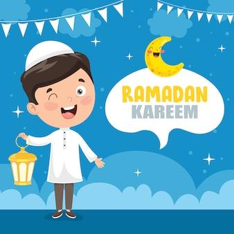 Векторная иллюстрация мусульманских детей, празднующих рамадан