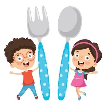 子供たちの食べ物のコンセプトのベクトルイラスト