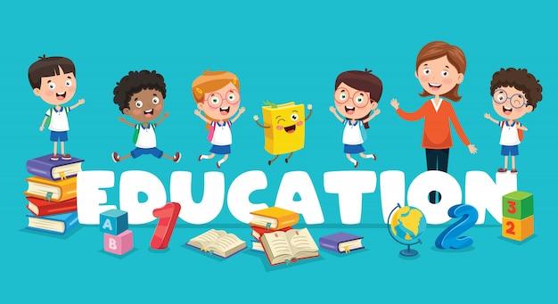 Векторная иллюстрация образования детей