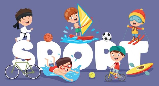 子供のスポーツのベクトルイラスト
