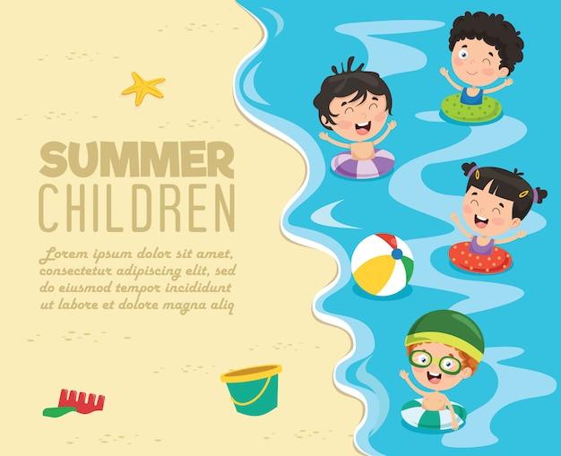 Дети на пляже, баннер