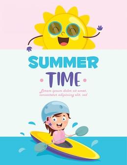 夏の子供たちのベクトルイラスト