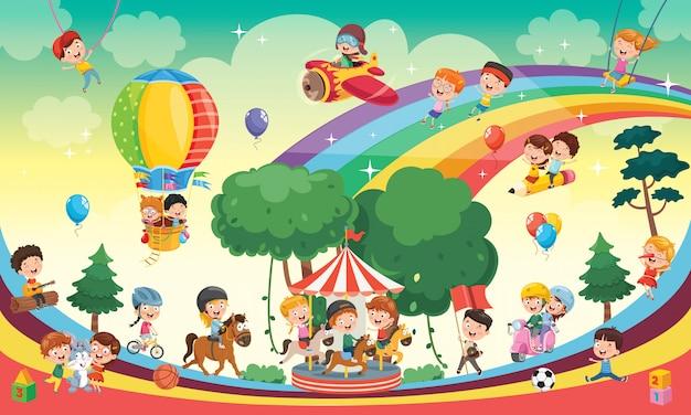 Счастливые дети играют пейзаж иллюстрации