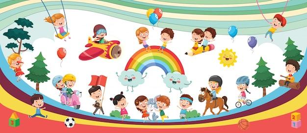 幸せな子供たちが風景イラストを遊んで