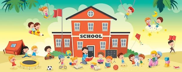 Веселые ученики и здание школы