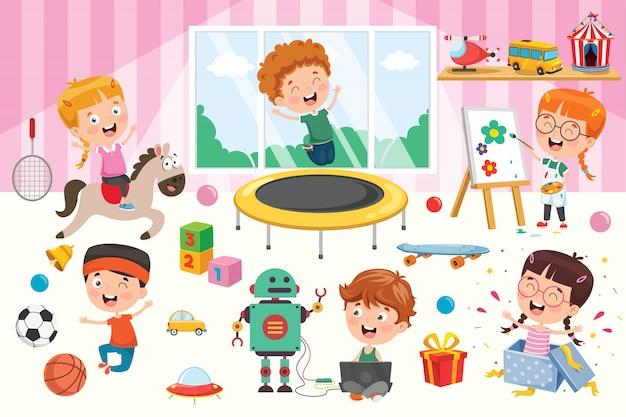おもちゃで遊んでいる幸せな子供