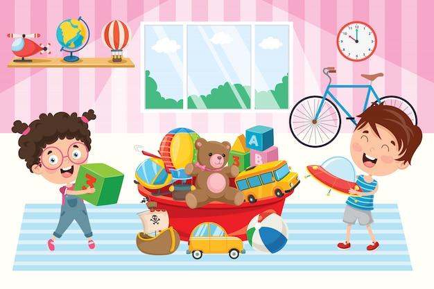 Счастливые дети играют с игрушками