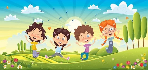 Дети веселятся в весеннем пейзаже