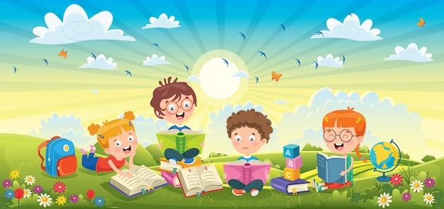 春の風景で本を読む子どもたち