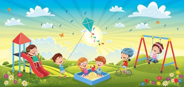 春の風景で楽しんでいる子供たち