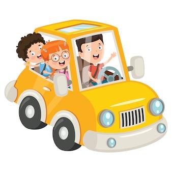 Дети, путешествующие на забавной машине