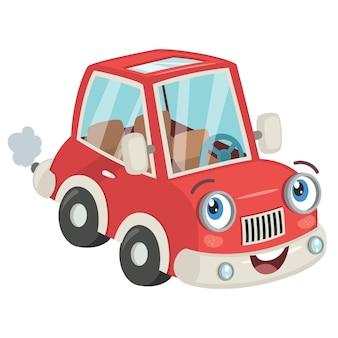 Забавный мультяшный красный автомобиль позирует