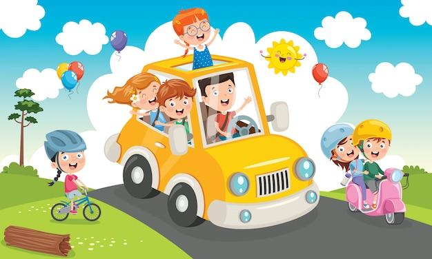 面白い車で旅行する子供たち