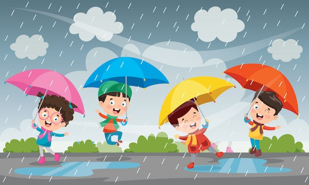 秋の雨の下で遊ぶ子供たち