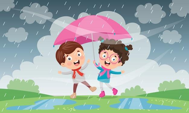 Дети с зонтом под дождем
