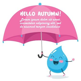 大きなピンクの傘を持つ雨滴キャラクター