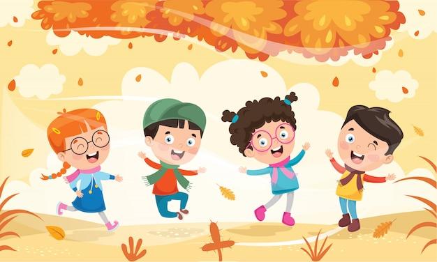 秋に外で遊ぶ子供たち