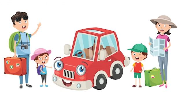 Планирование семьи, чтобы отправиться в отпуск с забавным автомобилем