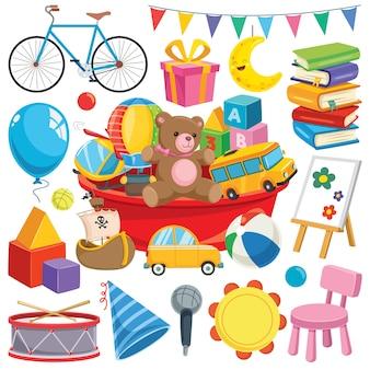 カラフルなおもちゃやオブジェクトのコレクション