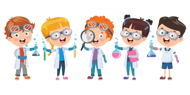 Маленькие студенты делают химический эксперимент