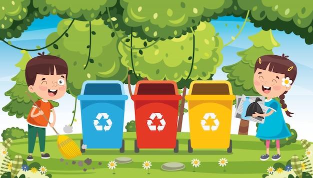 ごみの清掃とリサイクルの小さな子供たち