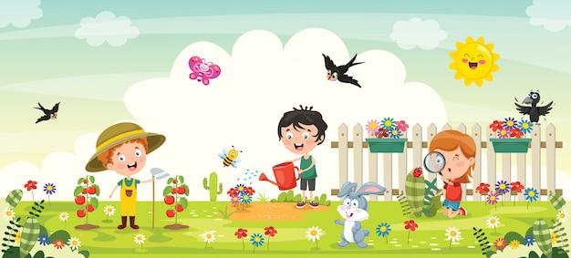 Маленькие дети садоводство и посадка