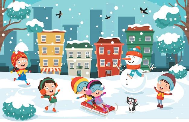 冬に外で遊ぶ子供たち