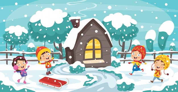 Дети играют на улице зимой