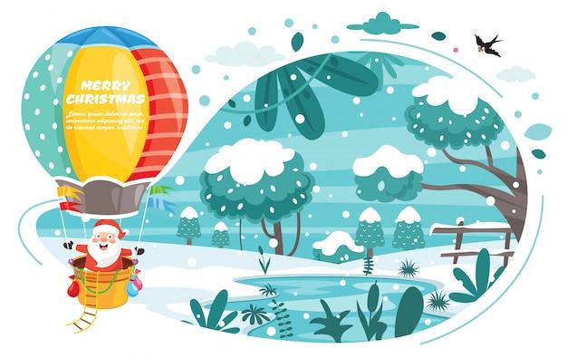 漫画のキャラクターのクリスマスグリーティングカードデザイン