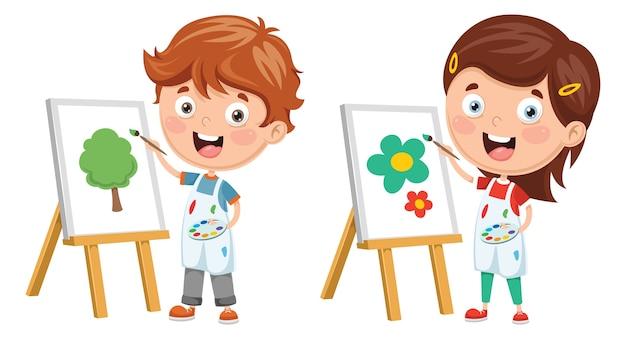 アートパフォーマンスを作る子供のイラスト