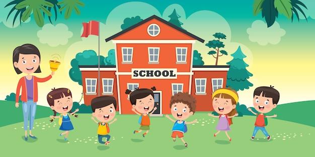 Маленькие ученики со своим учителем