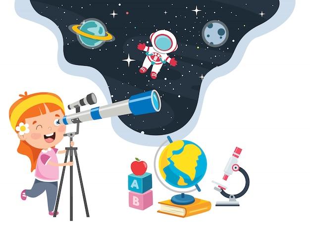 Малыш использует телескоп для астрономических исследований