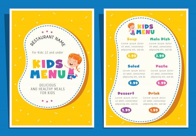 Симпатичные красочные детские блюда меню