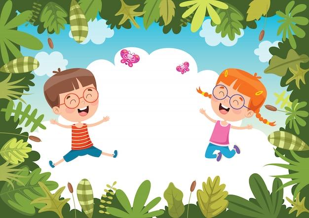 Счастливые дети играют в джунглях