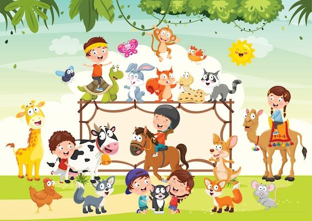 Дети играют с забавными животными