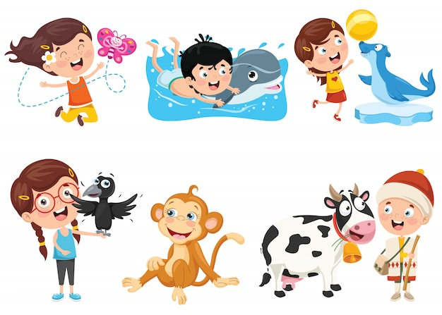 変な動物と遊ぶ子供たち
