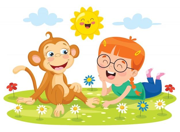 面白い猿と遊ぶ少女